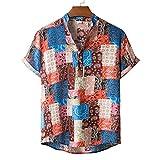 feftops Camisa Hawaianas Hombre Casual Estampada Manga Corta 2021 Playa de Verano Camisas Moda Cuello Alto De Cuadros De AlgodóN Y Lino Mangas Cortas Blusa