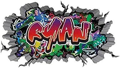 3D Wandtattoo graffiti muursticker naam RYAN muurdoorbraak sticker Boy zelfklevend muursticker jongendeco kinderkamer 11MD...
