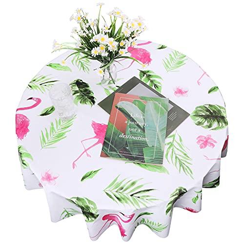 Hileyu Mantel de flamencos Mantel de Jungla Mantel Tropical Hojas de Palmeras Tropicales Mantel Redondo Limpiar paño de Mesa Mantel Hawaiano Luau para Suministros de Fiesta Tropical Luau