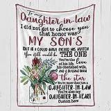 Personalized Flower Fleece Blanket - MOM to Daughter-in-Law - Fleece Blanket Soft Comfortable...