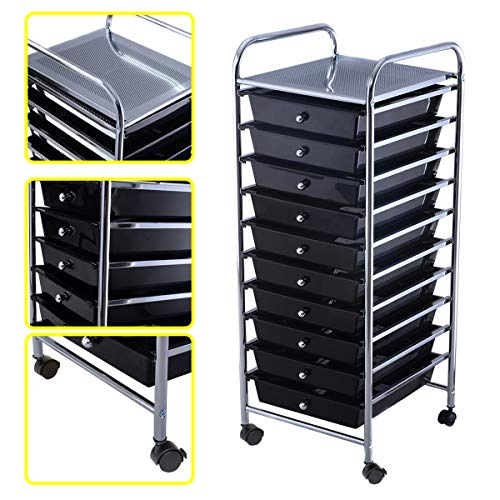 Happygrill 10-Drawer Organizer Cart Tools, Office School Paper Organizer Rolling Storage Cart with Wheels