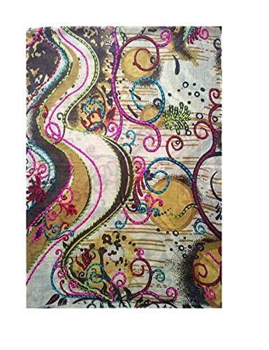 Bordado en bufanda de lana fina impresa
