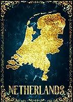 抽象的な黄金の地図キャンバスアートオランダ国の地図 ﹣数字キットによるDIYダイヤモンド絵画﹣5Dフルラウンドドリルダイヤモンド絵画キット刺繡芸術家の装飾 30X40cm