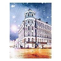 大人のための数字によるDIYの絵画キッズ初心者の初心者でキャンバスのキットで描く数字のキット:Numbers Kitクリスマスの家の装飾 - ロバのガチョウ (色 : White building, Size : 30x40cm)