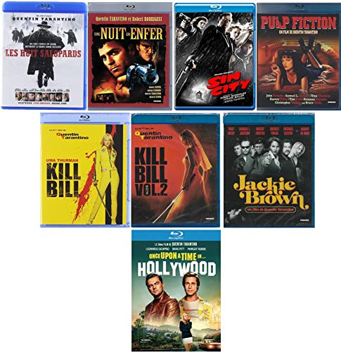 8 Blu Ray Quentin Tarantino - Once Upon a time in Hollywood + Jackie Brown + Kill Bill Vol. 1 et Vol. 2 + Pulp Fiction + Sin City + Une Nuit en enfer + Les Huit Salopards