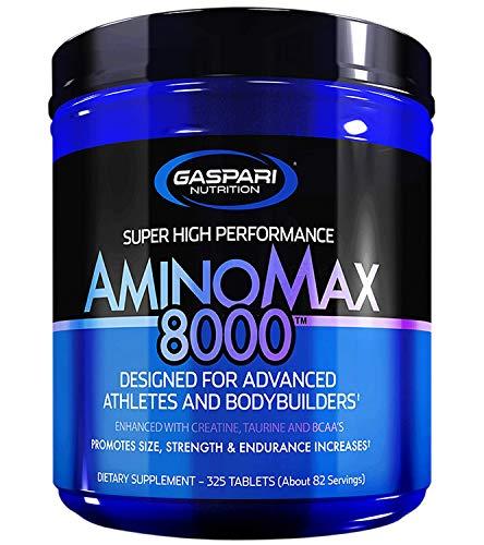 Gaspari Nutrition Amino Max 8000 Package of 1 x 325 Tablets – BCAA - Creatine Monohydrate – Taurine – Glutamine - Micellar Casein