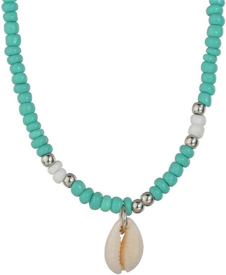 WEILYDF Bohemian Hawaiian Sea Turquoise Beaded Necklaces Clavicle Choker Retro Women Collar Beach Jewelry Gift (Green)