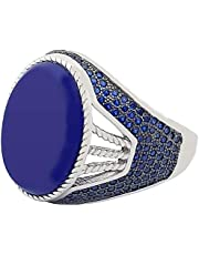 ring for men,size 10,with blue Zircon stone - 7412369874