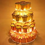 4 Tier Round Acrylic Cupcake Stand, Clear Cake Dessert Display Stand with LED String Lights, Wedding Party Tree Tower Stand