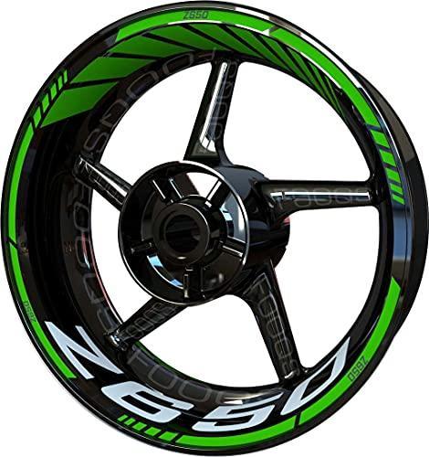 Motocicleta Moto Llanta Inner Rim Tape Decal Pegatinas F2 para Kawasaki Z650 Z 650 Z-650 (Verde 5)