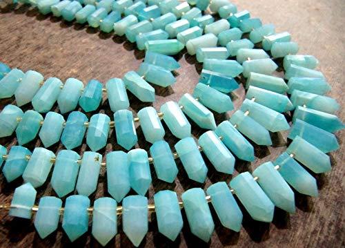 Shree_Narayani Natural peruano azul ópalo Briolette facetado lápiz bala forma 0.5 a 1 pulgadas largo perlas hebra 8 pulgadas precios al por mayor granos de piedra de nacimiento 1 hebra