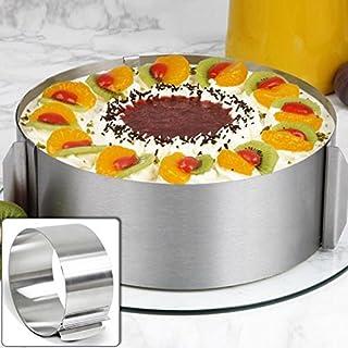 lzndeal Moule Cercle à Cake de Dessert Emporte-Pièces en Acier Inoxydable Bague Réglable Cercle Patisserie Reglable Cercle...