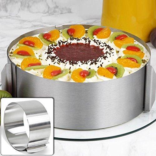 lzndeal Moule Cercle à Cake de Dessert Emporte-Pièces en Acier Inoxydable Bague Réglable 16 cm – 30 cm/ 6 inch - 12 inch