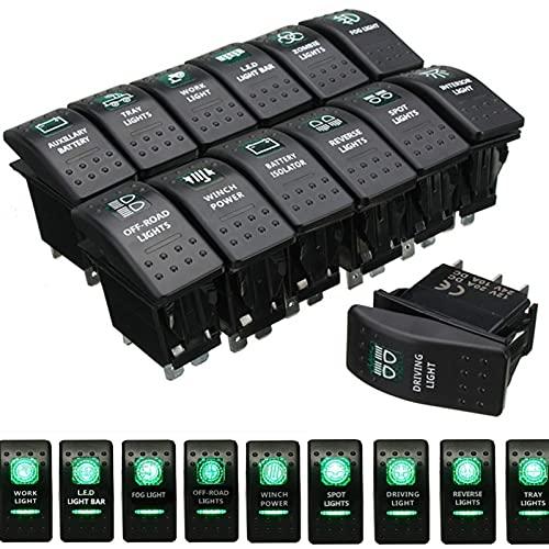 MING-BIN Hardware de mejoras para el hogar 1pc 12V / 20A 24V / 10A Boat Boat Rocker Switch Dual LED Verde luz Encendido Encendido de Apagado para RV Caravan Bus Marine Accesorios de Hardware