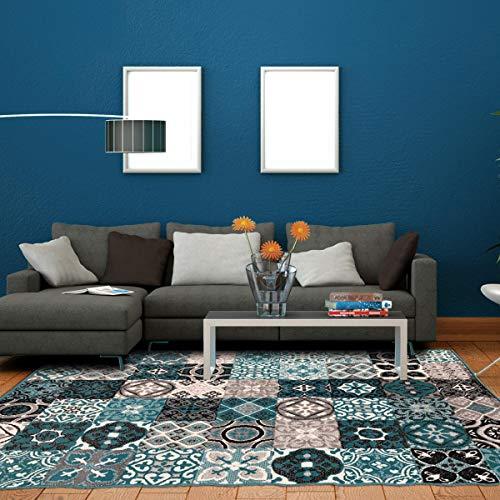 UN AMOUR DE TAPIS 160x230 Tapis Salon Moderne Design Graphique Carreaux de Ciment Poils Ras - Grand Tapis Salon Rectangulaire - Tapis Salon Vert