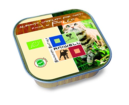Aniwell – Nourriture humide pour chats Bio – tuttacarne poulet biologique, 17 barquettes de 100 g