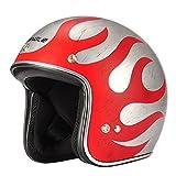 Triangle 3/4 Harley Retro Scooter helmet Open Face Cruiser [DOT] (Medium, Matte Metal Flames)