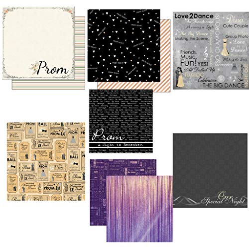 Custom Bundle Set of 7 High School Prom Themed 12' x 12' Scrapbook Papers - from Various Vendors