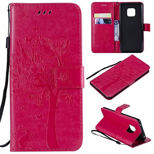 nancencen Hülle Kompatibel mit Huawei Mate 20 Pro, Flip-Hülle Handytasche - Standfunktion Brieftasche & Kartenfächern - Baum & Katze - Rose Red