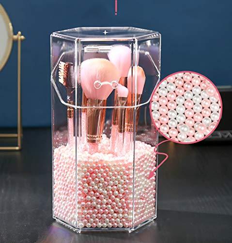 JMAHM Organizador de brochas de maquillaje premium acrílico a prueba de polvo con perlas blancas y azules y rosadas sobre 2800 partículas (Hexágono, rosa blanco)