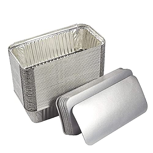 Aluminum Loaf Pans with Lids 8.5 x 4.5 (50 Pack) Disposable Foil Tins for Baking 2 Lb Bread