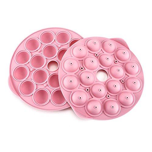 Rond en silicone Candy Moules Chocolat Truffes Lollipop Moule Forme de boule Homemade Moule à gâteau 18 Cavités Rose cadeaux (diamètre : 24.5 cm)