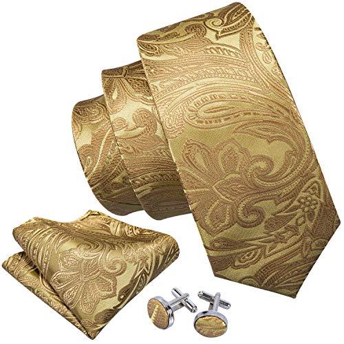 Barry.Wang Herren Paisley Krawatten Mit passendem Einstecktuch und Manschettenkn?pfe im Set