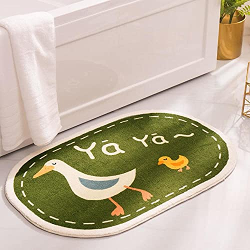 HEIMIU Alfombrilla de baño antideslizante ovalada, alfombra de ducha, lavable a máquina, estilo de dibujos animados, para dormitorio, cocina y baño, 50 x 80 cm, color verde