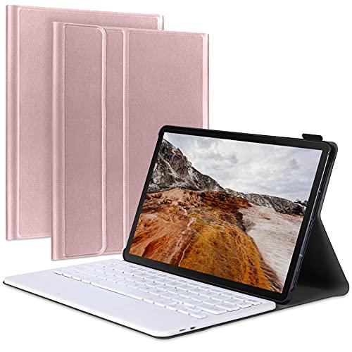Funda de teclado para Galaxy Tab S6 Lite (2020) de 10.4 pulgadas, funda de teclado inalámbrico desmontable con almohadilla táctil y soporte integrado para lápiz (oro rosa)