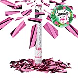 Relaxdays Party Popper Pink, Party Shooter Metallic, 40 cm Konfetti Kanone für...