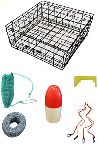 KUFA Sports Vinyl Coated 24'x24'x12' Crab Trap & Accessory Kit (100' Lead Core Rope, Clipper,Harness,Bait Case & 11' Red/White Float) S60+CAC17, Black