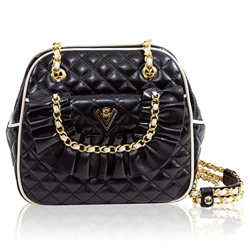 Valentino Orlandi Women's Medium Handbag Italian Designer Messenger Bag Purse Obsidian Caviar Quilted Genuine Leather Bag in Boxy Design with Chain Strap