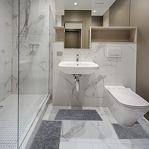 Badvorleger, rutschfeste Badematte, Badematten-Set 3 Stück absorbierende rutschfeste Badematte Toilettenvorleger Badvorleger für Bad, Schlafzimmer, KücheKit 40×60+50×50(U)+50×80 cm (Grau)