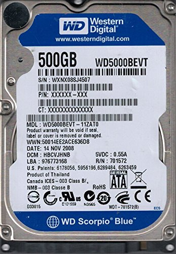 Western Digital WD5000BEVT-11Zat0 Dcm: Hbcvjhnb 500Gb