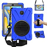 ZenRich New Galaxy Tab A 8.0 2018 Case, SM-T387 Case with Rotatable Kickstand,Hand Strap & Shoulder Grip, zenrich Heavy Duty Shockproof Cover for Galaxy Tab A 8.0 SM-T387 Verizon/Sprint-Blue