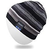 Rotibox Wireless Bluetooth Beanie Hat Cap Striped Pom Pom with Headphones Headsets Earphones Speaker Hands-Free Call for Gym Outdoor Sports Skiing Running Skating Walking - Black