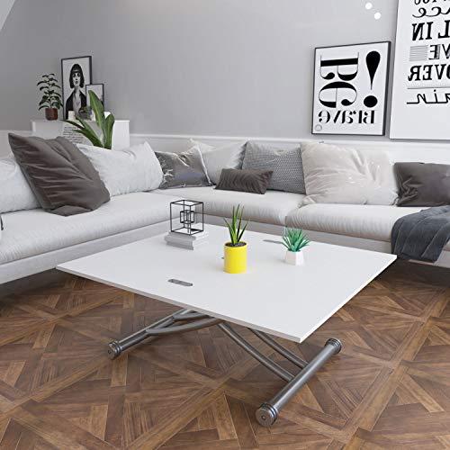 Ubrand Beliwin - Mesa de centro elevable, altura ajustable, superficie superior de 2 partes, mesa de comedor para sala de estar y oficina