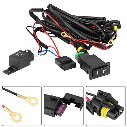 Interruptor de relé de cableado de niebla Kit de cableado de interruptor de luz antiniebla LED para coche de 12 V, Kit de relé de fusible Plástico impermeable universal
