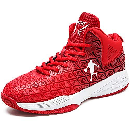 CXQWAN Chaussures de Basket-Ball Hommes, Haut Baskets Basses Sports Marche Chaussures de Course Haute Elasticité Non-Slip Convient pour Venues en Plastique intérieur et extérieur,Rouge,40
