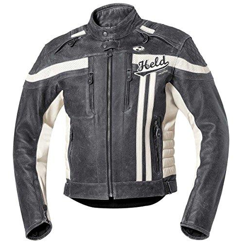 Held – Herren-Motorradjacke Harvey 76, aus Rindsleder gefertigt, Art.-Nr.: hel35384, damen, - Nero/Bianco