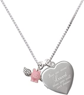 Mini Pink Flying Pig You are More Loved Heart Locket Necklace