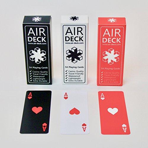 Air Deck 3er Set SCHWARZ Weiss ROT - Spielkarten für Unterwegs - Premium Qualität langlebiges PVC wasserfest waschbar hochwertige Plastikkarten strapazierfähig Pokerkarten 52er Deck Kartenspiel
