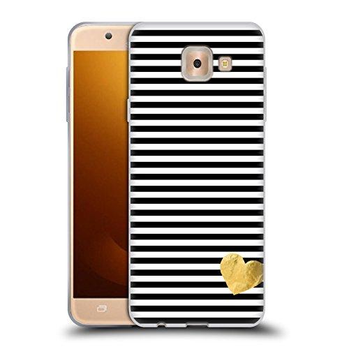 Head Case Designs Oficial Monika Strigel Negro Corazón pequeño Carcasa de Gel de Silicona Compatible con Samsung Galaxy J7 MAX