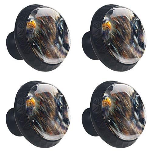TIZORAX Wolf en Eagle Schilderen Veren Achtergrond Lade Knoppen Trek Handgrepen 30MM 4 Stks Glazen Kast Lade Trekken voor Keuken Kasten Dressoir Kast