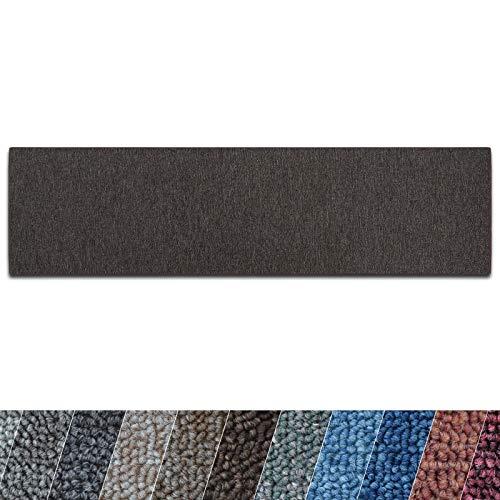 casa pura Teppich Läufer London | Meterware | Teppichläufer für Wohnzimmer, Flur, Küche usw. | Flacher Schlingenflor | mit Stufenmatten kombinierbar (Dunkelbraun - 80x300 cm)