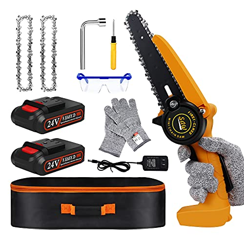 Mini Chainsaw - Mini Chainsaw 6 Inch , Cordless Chainsaw , Mini Chainsaw Cordless for Branch Wood Cutting, Garden Pruning, Tree Trimming( Electric Chainsaw 2 Battery 2 Chain 1 Bag)