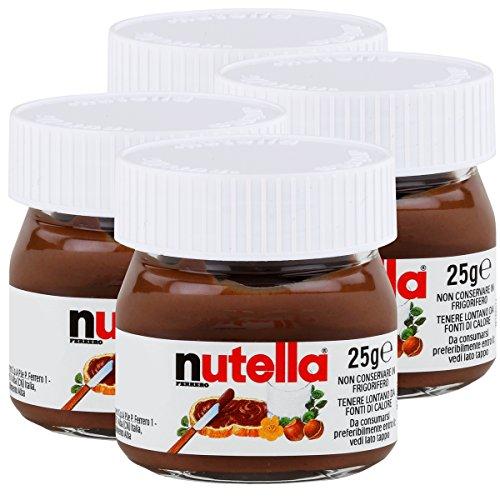 Ferrero Nutella pequeño mini diseño cristal Juego de 4a 25g, Pan, untar Crema nugat Nuez, Chocolate auftrich