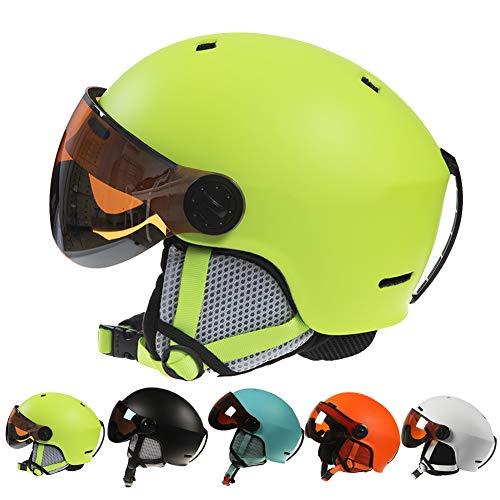 Skihelm Ski Helm,Skihelme mit Visier für Damen Herren,Ski Helm mit Skibrille Männer Frauen ASTM-zertifizierter Sicherheit,Snowboardhelm Verstellbare Größe Ski Helmet Men,Snowboard Helm,Gelb,L