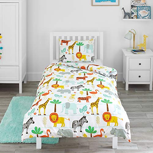 Bloomsbury Mill - Safari Adventure - Jungle Animals - Kids Bedding Set - Single Duvet Cover and Pillowcase