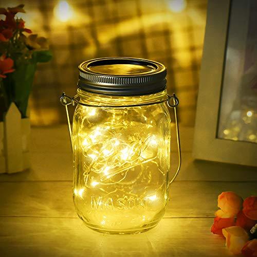 Dailyart Solare Mason Jar Luci 20 Led Solare Lampada Bianca Calda, Lucine Led Decorative Luci Lanterne Illuminazione per Terrazza, Giardino, Matrimonio, Festa [Classe di efficienza energetica A]